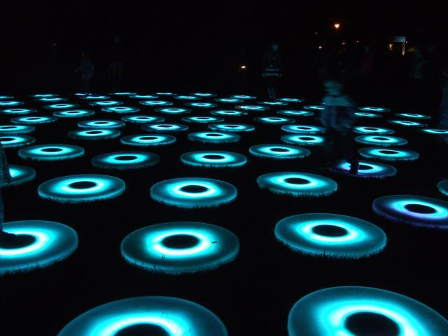 Jen Lewin, The Pool – světelná instalace v parku Kampa, Signal festival, Praha