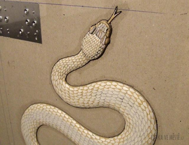 Matrice pro ilustraci hada do učebnice Přírodopisu pro slabozraké a nevidomé